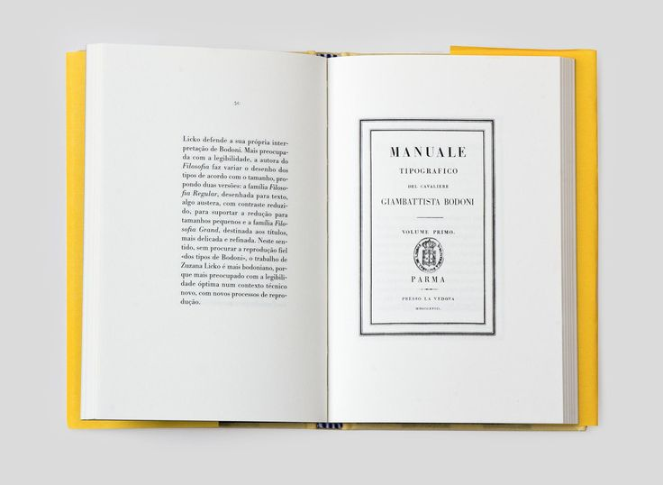 Manual Tipográfico by Giambattista Bodoni is the second title in a book series on typography published since the year 2000. The series is a labour of love by Almedina and FBA with the aim to honor the design and the history of typography.