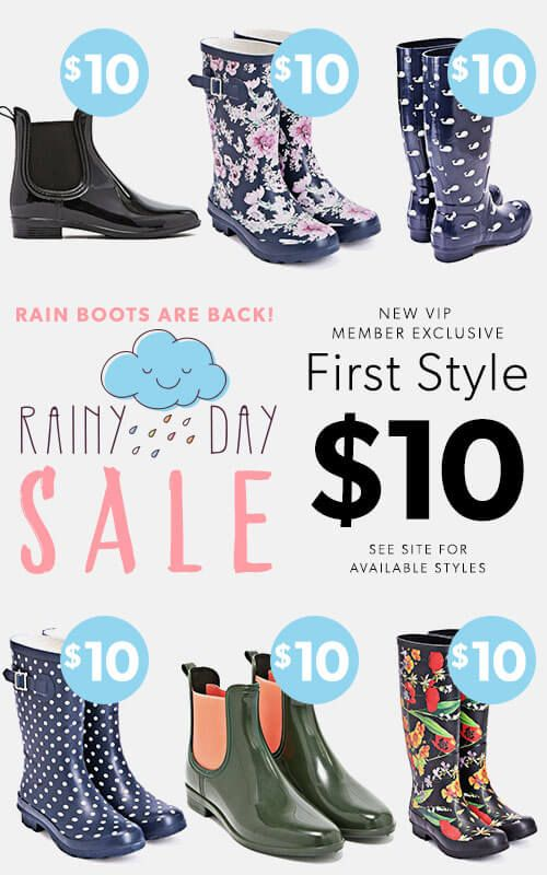 You'll be wishing for rain! For a limited time, new JustFab VIPs get their first pair for only $10! First, take our Style Quiz and be whisked away to your own personalized boutique curated just for you. Then, get your favorite style for as low as $10! As a VIP, you'll enjoy up to 30% off the retail price, free shipping on orders over $39, and early access to sales! Just login each month and shop or 'Skip the Month' by the 5th and you won't be charged. Hurry, this offer won't last long!