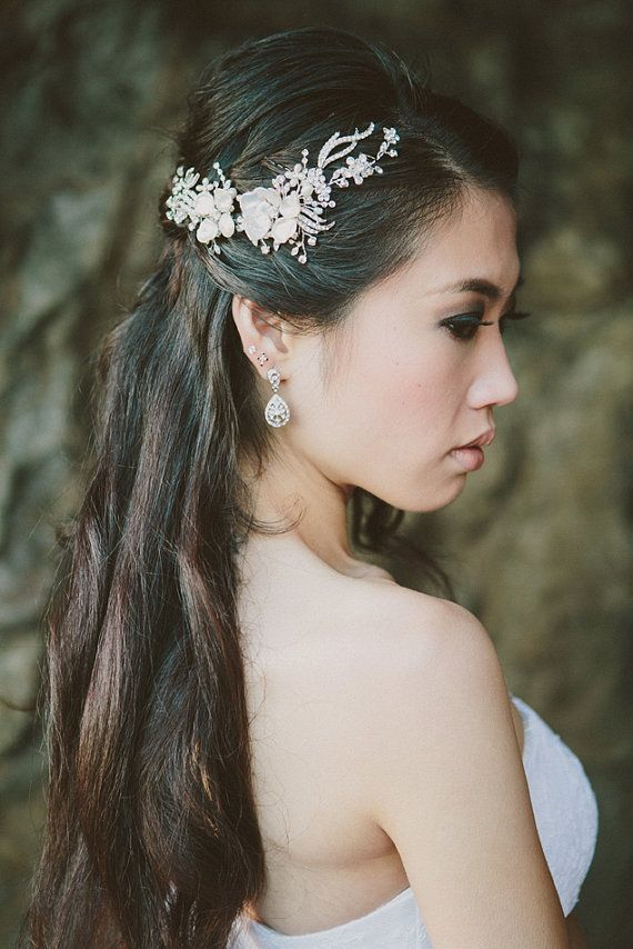 Mariya Rhinestone Hair Vine with Keishi pearl flowers, crystals and freshwater pearls by One World Designs Bridal Jewelry