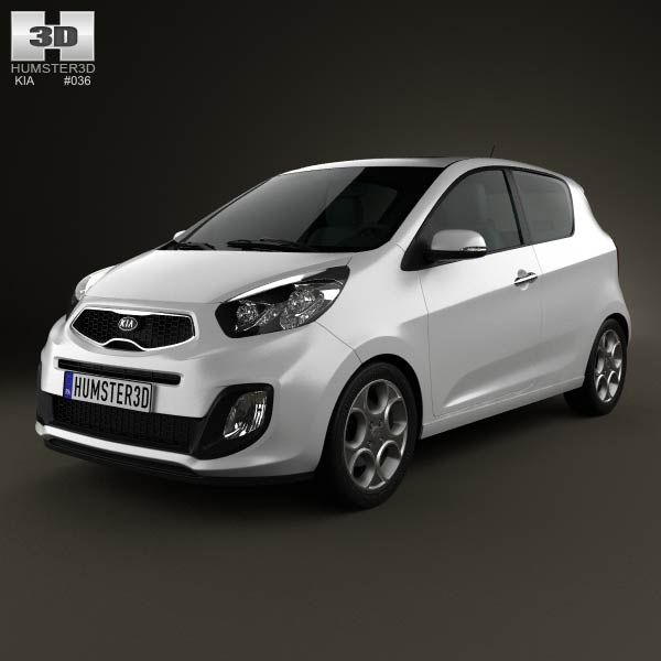 Kia Picanto (Morning) 3-door 2012 3d model from humster3d.com. Price: $75