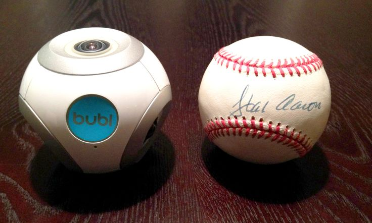 The bublcam is slightly larger than a baseball.