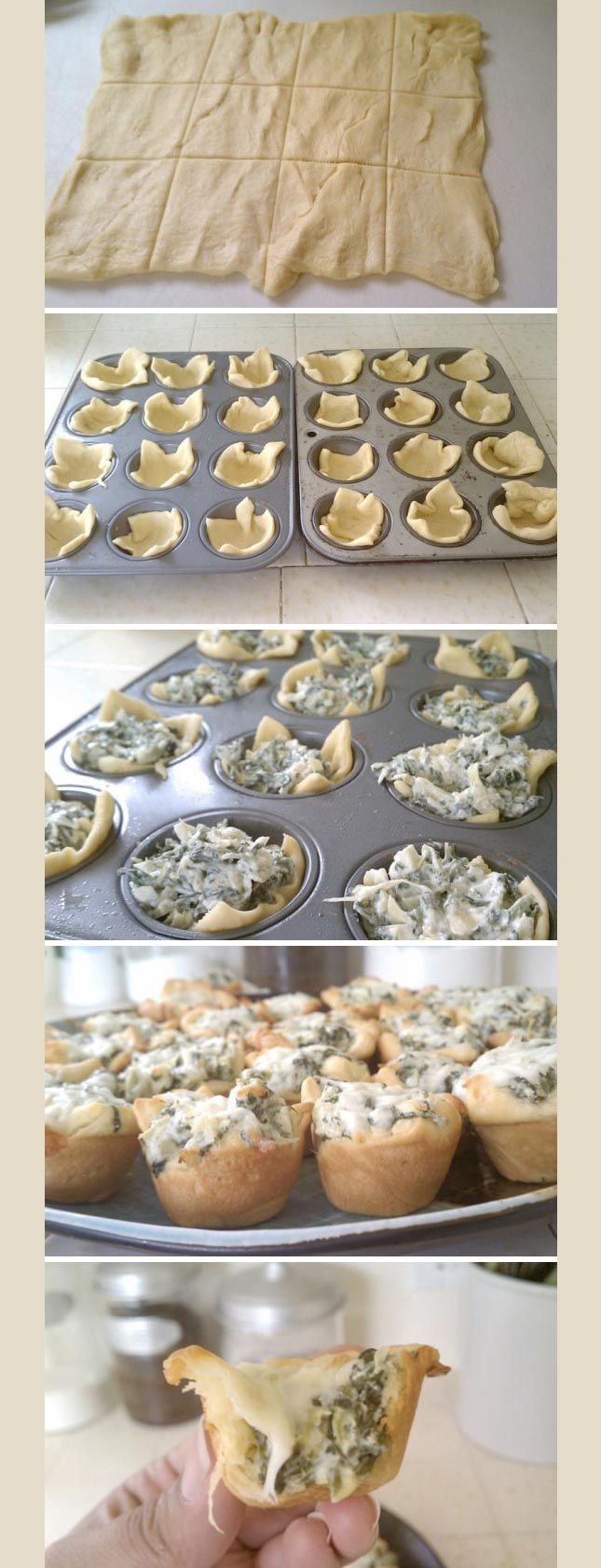 Spinach Artichoke Bites (step-by-step pictures!)