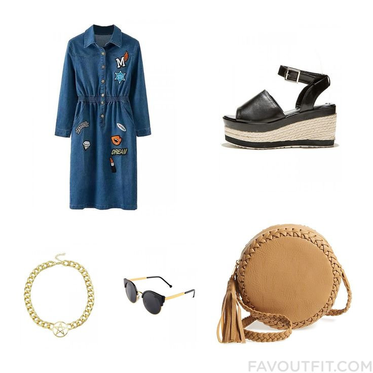 Ootd Items Including Dress Wedge Sandals Big Buddha Shoulder Bag And Cross Necklace From August 2015 #outfit #look