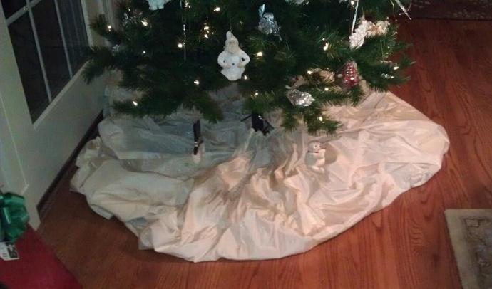 We repurposed grandma s wedding dress to a christmas tree skirt