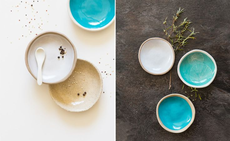 Kim Wallace Ceramic Bowls. Flat-lay Product Photography Karina Sharpe