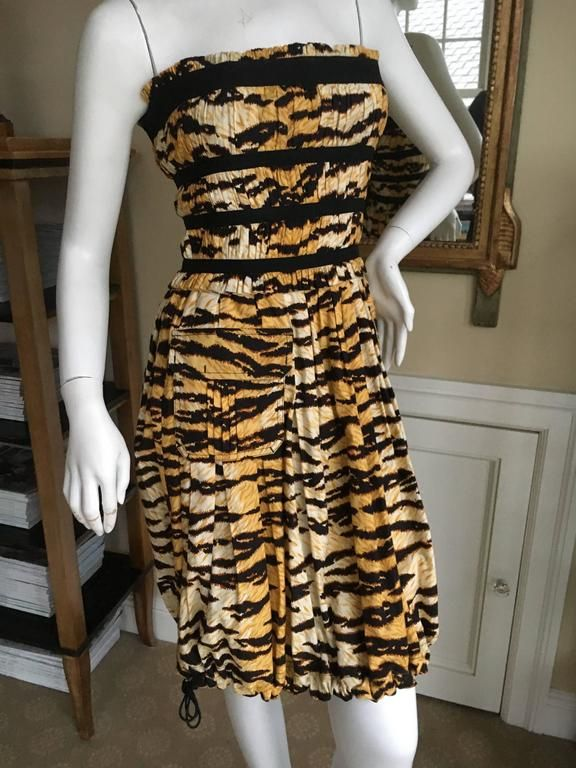 Dolce & Gabbana Vintage D&G Charming Pleated Tiger Stripe Cocktail Dress