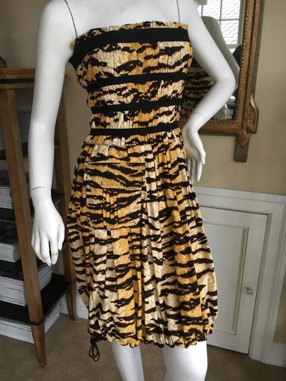 Dolce & Gabbana Vintage D&G Charming Pleated Tiger Stripe Cocktail Dress