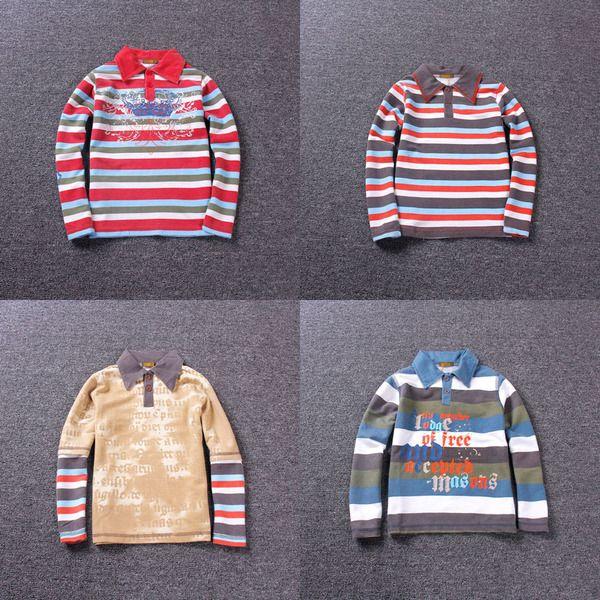 Терри Мальчики футболку большие девственные с длинными рукавами футболки рубашки поло лацкане детей дна рубашки весной и осенью пункт пункт недостатки