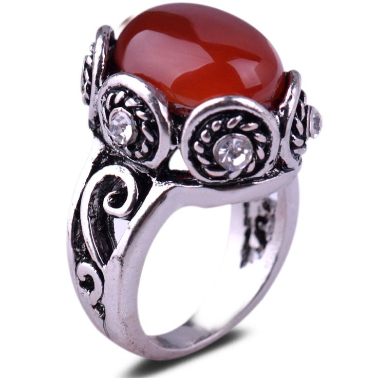 Retro Silver Carve pachu-jessiOval Red Jade stone Lady Party/Bridal Jewelry Ring Size6.5-8-9: