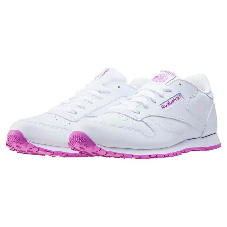 Reebok Classic Leather Kids Trainers in White Pink