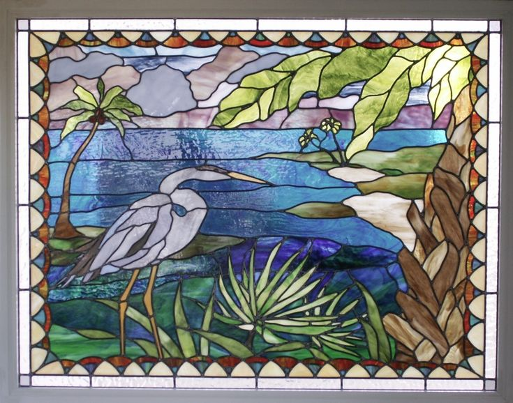 Heron on the Lake Stained Glass - stainedglasspatterns.blogspot.com