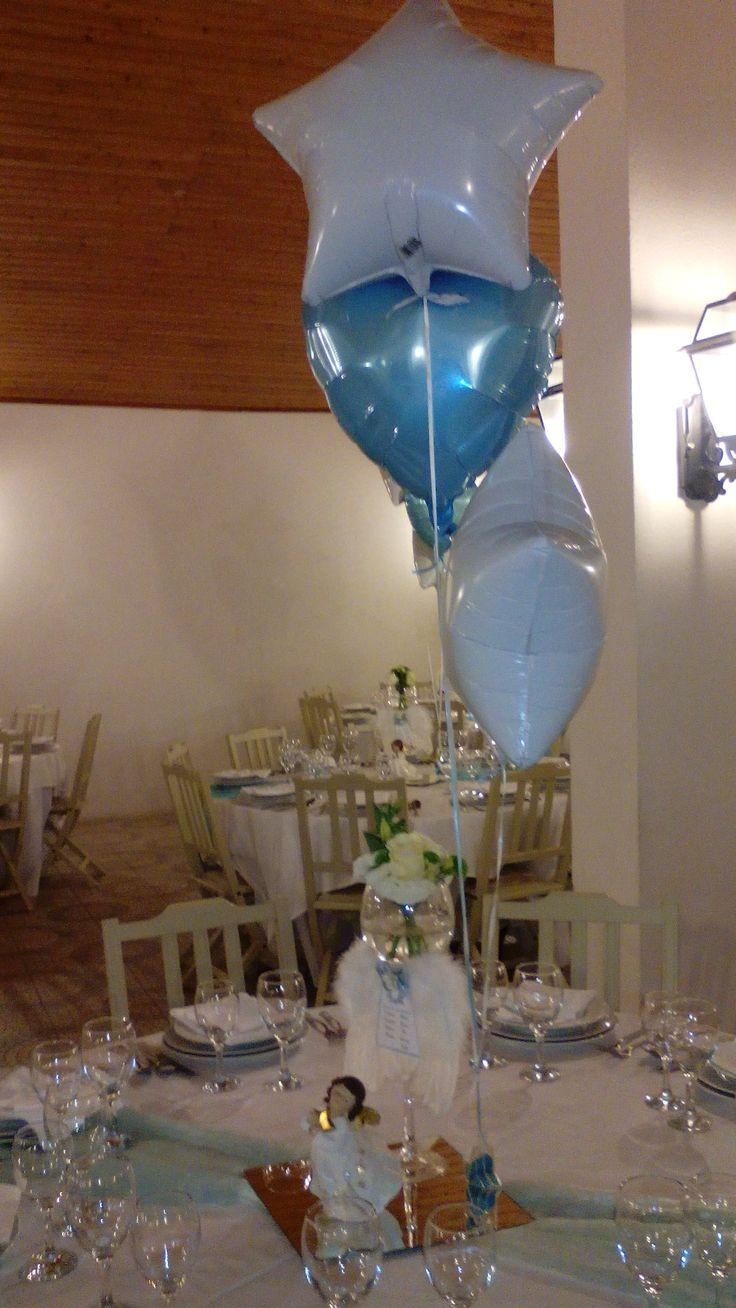 Angel Christening party- balloon & flowers  Batizado decoração balões, flores e Anjos
