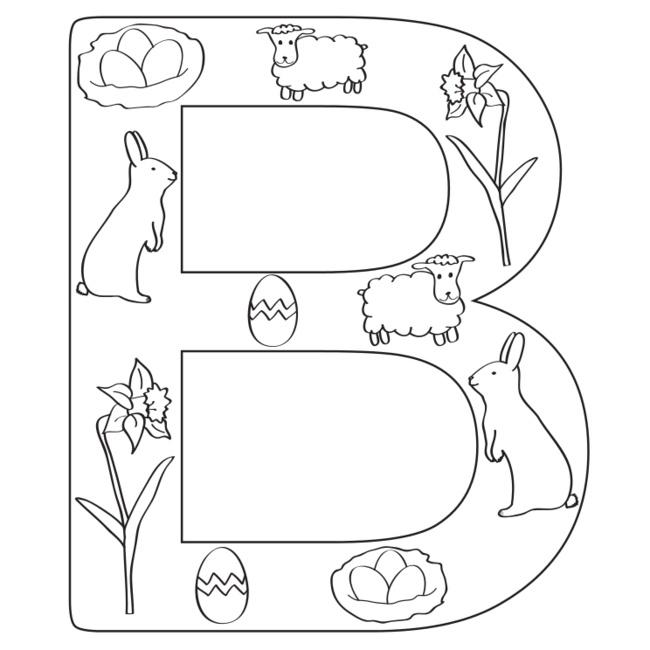 Lettere di Pasqua da colorare: B da www.kigaportal.com