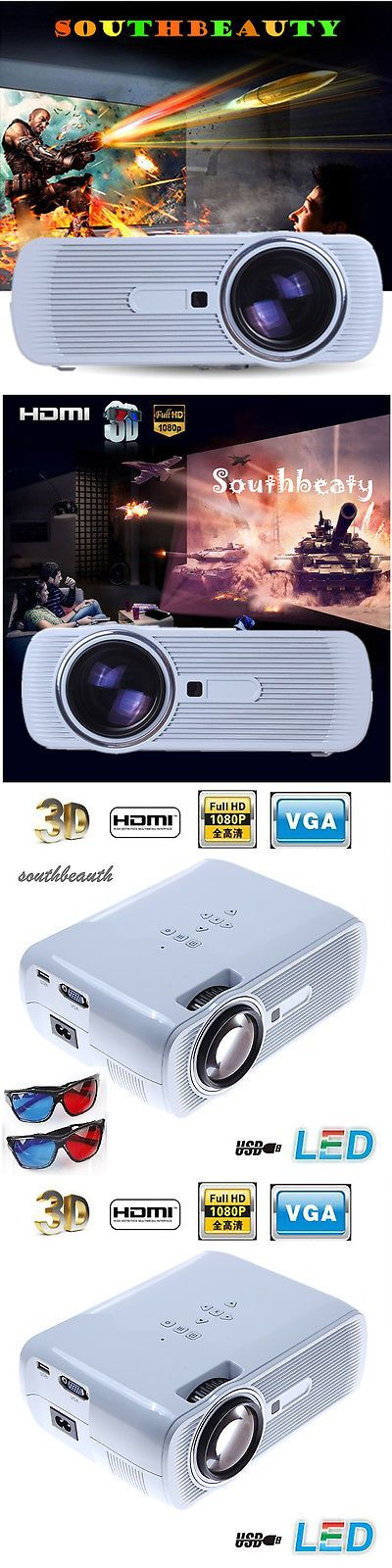 Home Theater Projectors: 3000 Lumens Hd 1080P 3Led Lcd 3D Vga Hdmi Tv Pc Sd Home Theater Projector Cinema BUY IT NOW ONLY: $71.5