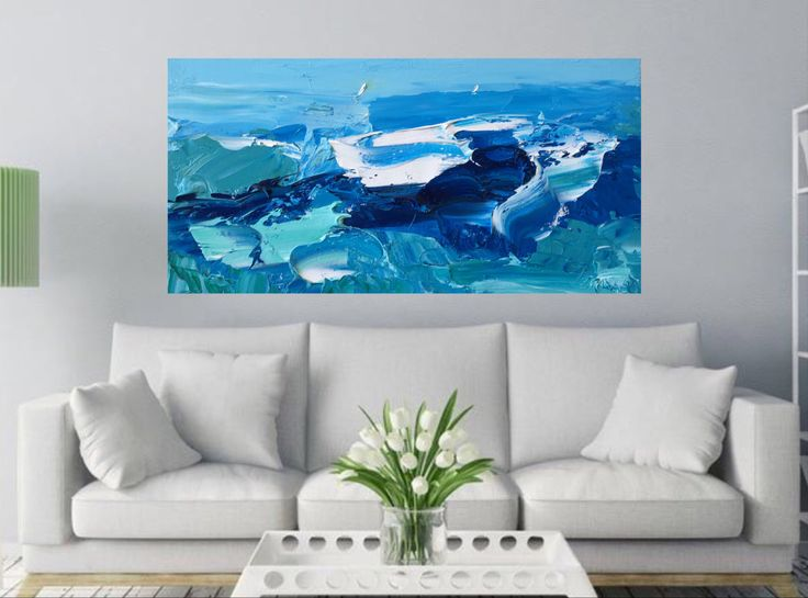 Océan peinture sur toile Ocean Wave Art mer peinture abstrait bleu moderne maison Decor Résumé océan vagues côtières Decor salon chambre par KikArtPaintings sur Etsy https://www.etsy.com/fr/listing/272915068/ocean-peinture-sur-toile-ocean-wave-art