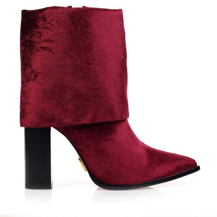 Bota Salto Alto Veludo Vinho -  UZA Shoes