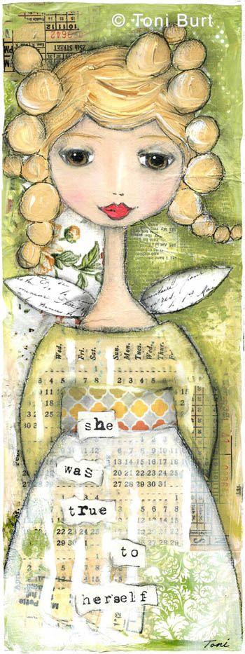 """she was true to herself""  mixed media artwork by Toni Burt.  Angel art, girl art, angel wings."