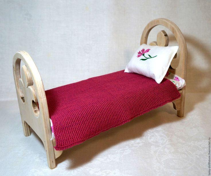 Купить Кровать для куклы (3) - комбинированный, мебель для кукол, кукольный дом, кукольный домик, заготовка