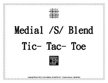 This is the format of the traditional Tic-Tac-Toe game; however, it has been designed to target medial /s/ blends. It can be used with words or adapted for phrases and sentences. Additionally, if you have students who need to work on sentence formulation and/or describing, you can address multiple goals with the same game.