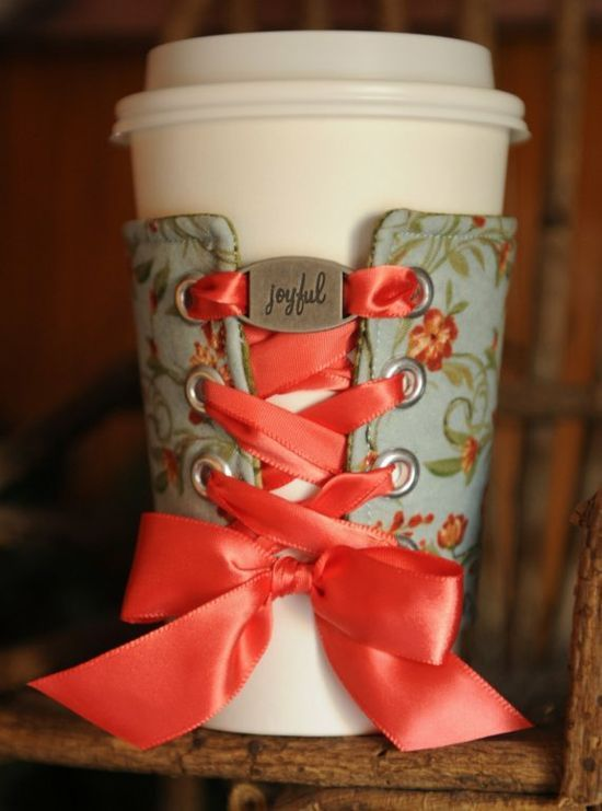 Like the lacing idea -if crochet pattern had holes could do this and use cozy for different sized mugs....:)
