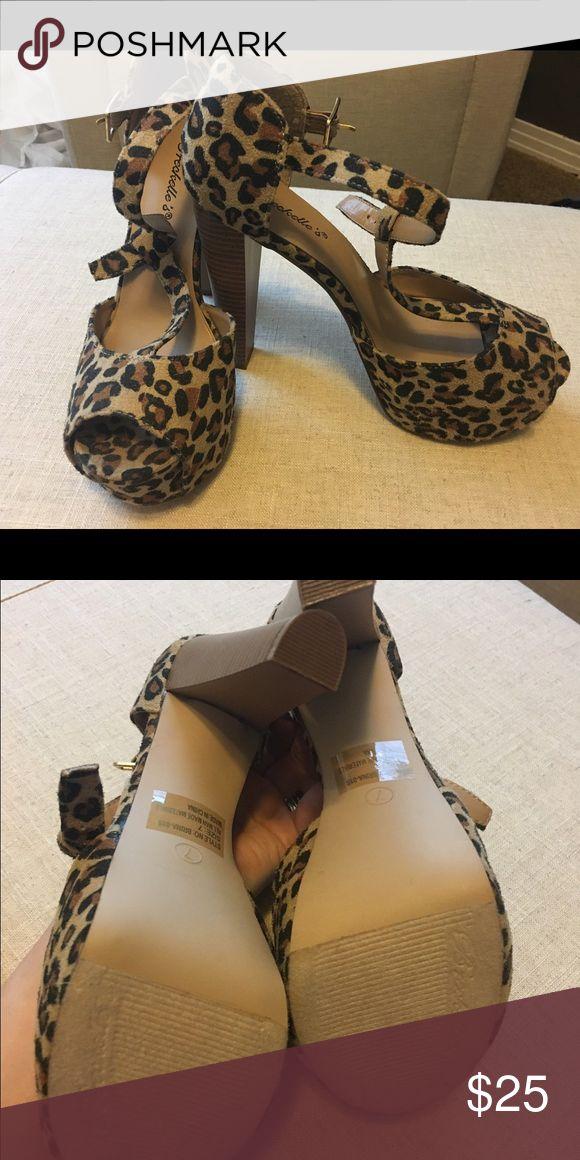 NWOT-- Leopard print pump Sandles Never worn- leopard print pump/Sandles. Comfy. No signs of wear (as they've never been worn). No box. Shoes Heels
