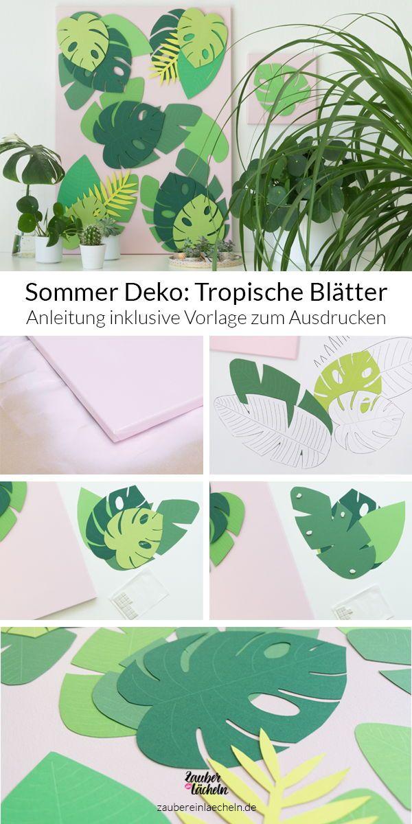 Sommer Deko: Tropische Blätter Vorlage – auf Leinwand selber machen