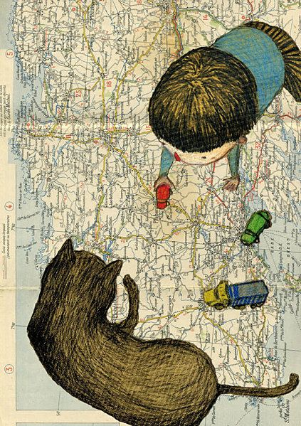 Delphine Vaute I imagine someday I will be looking over my lil Georgiou just like this. As he maps out the places he and his cat might go without His Sisters.