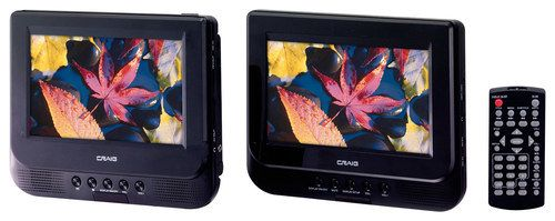 "Craig - 7"" TFT Portable DVD Player with Dual Screens - Black"
