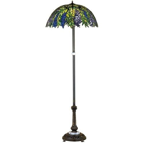 Meyda Tiffany 31113 Stained Glass / Tiffany Floor Lamp from the Honey Locust Collection, Tiffany Glass