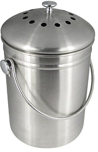 compost bin stainless steel 1 gallon capacity charcoal filter included