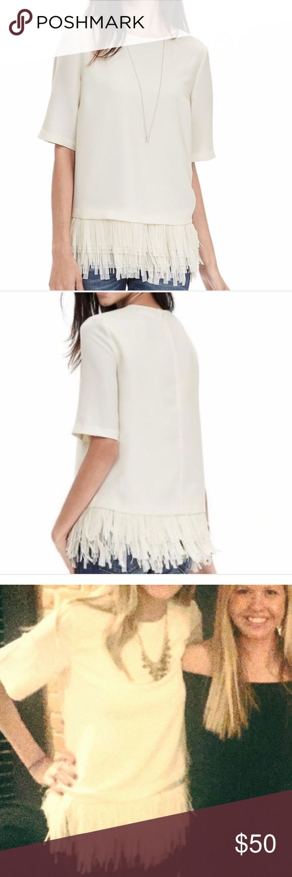 Banana Republic White Crepe Fringe Blouse The most fun shirt! Worn twice. Size small. Banana Republic Tops Blouses