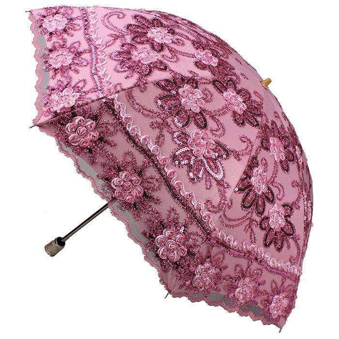 Women New Embroidery Rose bloom Umbrella Folding Anti UV Sun Rain Parasol