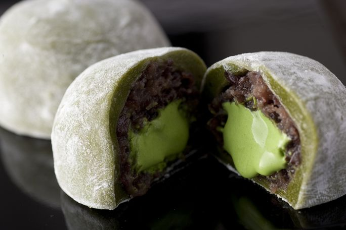 "Daifukumochi (大福餅), or Daifuku (大福) (literally ""great luck""), is a Japanese confection consisting of a small round mochi (glutinous rice cake) stuffed with sweet filling, most commonly anko, sweetened red bean paste made from azuki beans."