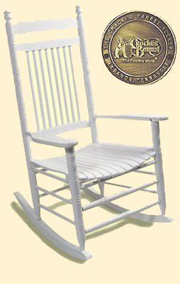 Enjoy the comfort of an authentic Cracker Barrel Old Country Store(R) rocking chair in your own home with our Pure White Rocker with slat seat.