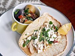 Mediterranean Chicken, Feta, and Herb Wrap With Stewed Potatoes | Serious Eats : Recipes