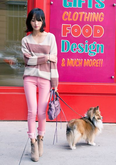 Misspouty Bold Stripe Sweater Top, Balenciaga First Classic, Steve Madden Zipper Detail Ankle Boots
