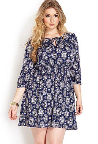 Boho Beauty Peasant Dress | FOREVER21 PLUS - 2000107049 Blue & White $22.80 LOVE!!!