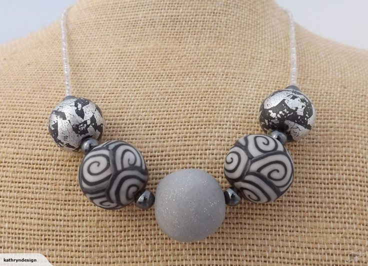 White & Grey Kathryn Design Chunky 5 Bead Necklace | Trade Me