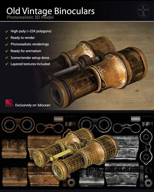 Old Vintage Binoculars - High Poly