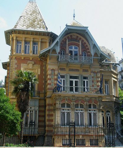 An old mansion in Thessaloniki city, Greece; it belonged to Mehmet Kapanci, (1893) at Vas. Olgas avenue (former NATO and Red Cross oficces). Photo by gchristof, Flickr