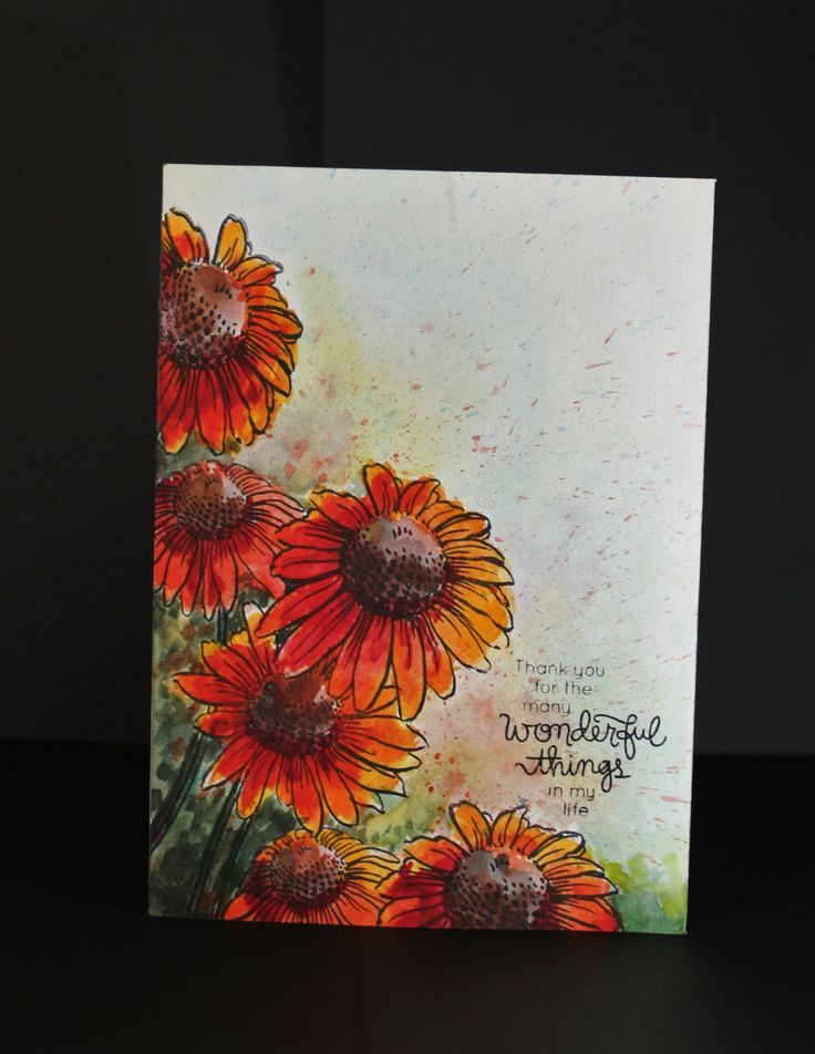 """Water colored stamped image. Technique from Online class """"Watercolor for Cardmakers"""""""