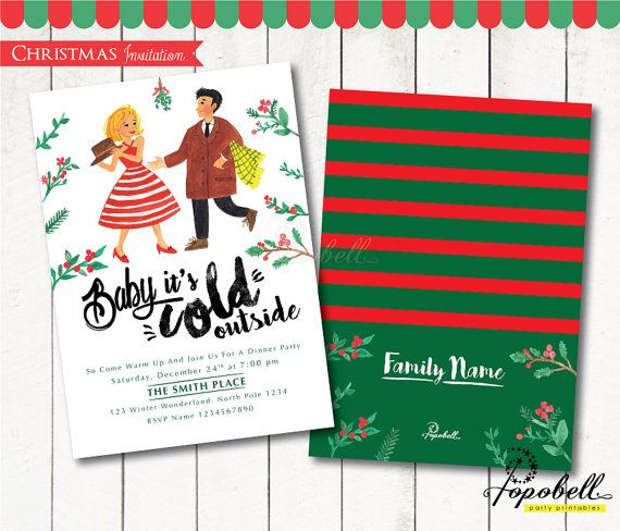 "Christmas Invitation for Christmas Party. Holiday by Popobell  Inspired by Christmas Song ""Baby It's Cold Outside"" lyric  #christmaswatercolor #christmascupcakes #christmastoppers #christmashanddrawn #christmasillustration"