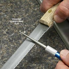 Sharpen Serrated Knives With a Diamond Sharpening Steel - When using a diamond steel to sharpen a serrated knife, the curve of the steel has to fit the scallops on the knife. Take your knife to a cookware store and find adiamond-coated steel (about $30) that matches the scallop size on your knife. If you're shopping online, you can find the diameter you need by holding drill bits against the scallops. Then use this dimension to order the right diameter sharpener. Another option is to buy a…