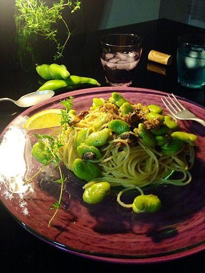 いわしのへしことそら豆のスパゲッティ。 by mosnogohanさん | レシピ ...