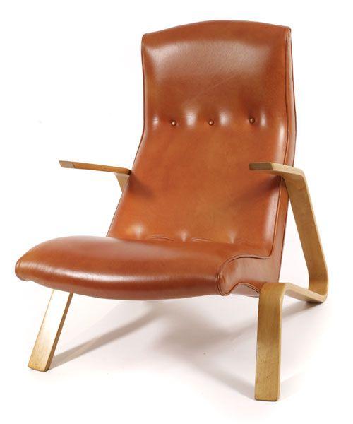 Early Eero Saarinen Grasshopper Chair   red modern furniture