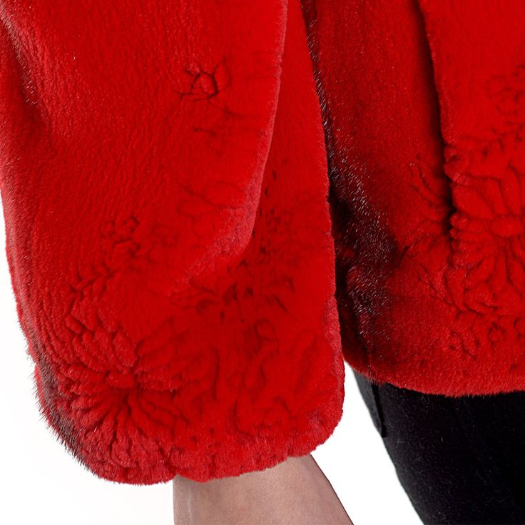 The lovely red mink jacket with embroidered flowers we cannot stop wearing!