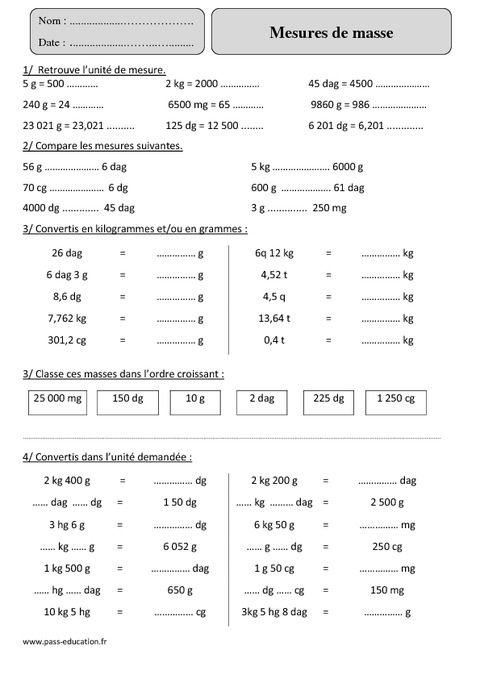 Mesures de masse – Masse g, kg - Cm2 – Exercices avec correction - Pass Education