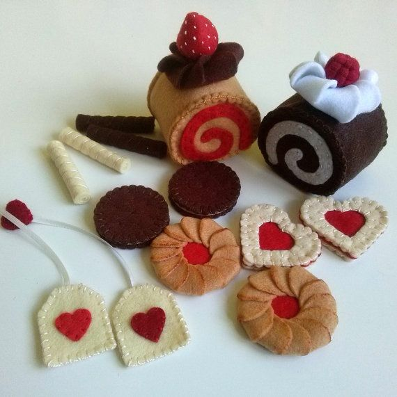 Felt food set tea party for two with swiss rolls by DusiCrafts