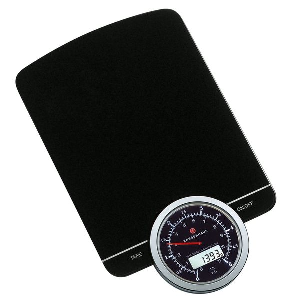 Go retro-digital on recipes and portion-control with this slick and stylish kitchen scale from Zassenhaus. Featuring a digital display inside an analog dial...