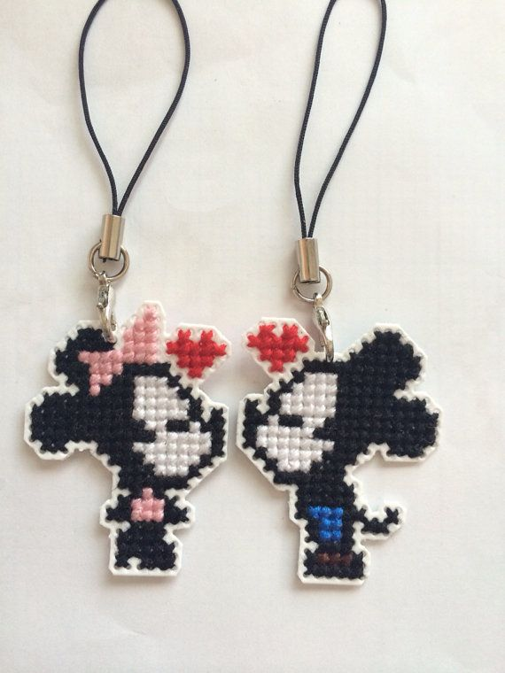 Mickey and Minnie Mouse cross stitch couple by ctpkeychains